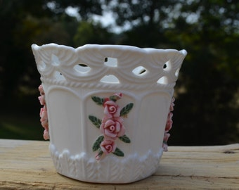 Vintage Bloom Rite Porcelain Glass Bowl With Ceramic Raised Pink Roses