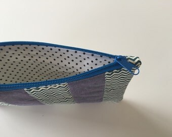 Zipper pouch with patchwork quilted front - stripes chevron blue