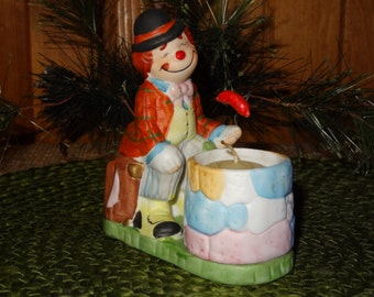 "Jasco Luvkins ""HOBO"" Candle Holder / Collectible Clown Candle Holder"