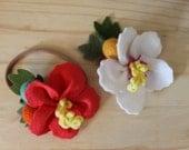 Felt hawaiian hibiscus flower headband or clip
