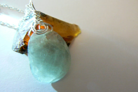 Aquamarine pendant- Jewelry gemstone necklace-Blue green stone swirl wire wrapped pendant-Boho sterling silver gemstone women pendant