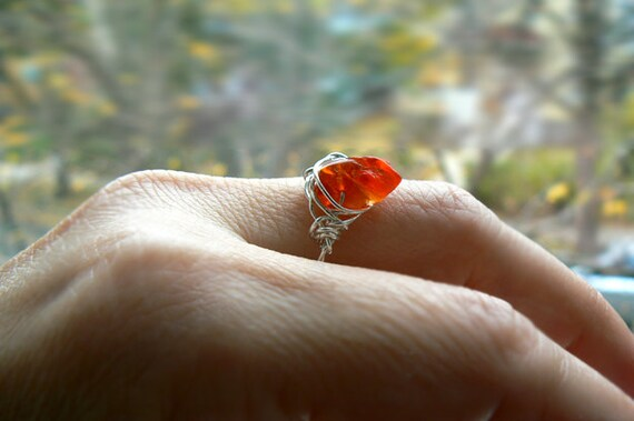 Rough Mexican fire opal gemstone sterling silver ring- Wire wrapped rough stone boho ring- Size 8.5- Fashion,trendy red opal ring-Women gift
