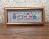 Vintage framed Cross Stitch, Vintage Framed Needlepoint, Rustic Framed Folk Art, Shabby Chic Framed Folk Art