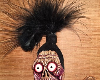 Shrunken Head from Beetlejuice leather brooch/pin