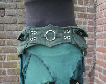 Green suede hip bag Festival Belt Woodland pixie purse