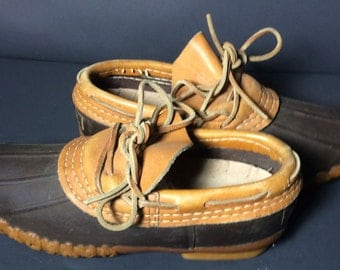 Vintage LL Bean Brown Leather & Robber Duck Rain Shoes Women's Size 6