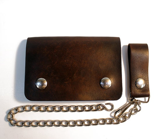 brown biker wallet chain wallet mens leather wallet small