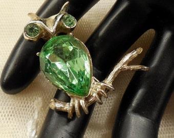 Vintage Dodds Green Rhinestone Owl Brooch/Pin