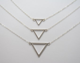 Triangle necklace. Sterling silver triangle necklace. Small triangle necklace. Medium triangle necklace. Large triangle necklace