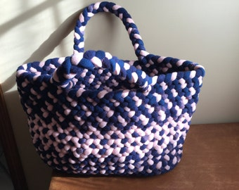 Navy and pink tote bag