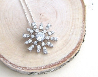 Crystal Snowflake Necklace, Silver Snowflake Pendant, Silver Necklace, Cubic Zirconia Snowflake Pendant  - Sterling Silver Chain