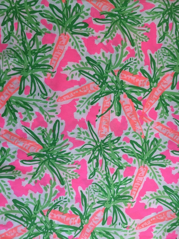 3 patches of lilly pulitzer fabric nibbles carrots bunnies for Lilly pulitzer sorority letters