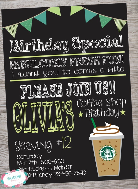 cafe coffee shop inspired birthday party invitation printable