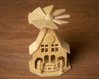 Miniature Wooden Pyramid Train Station for your Dollhouse