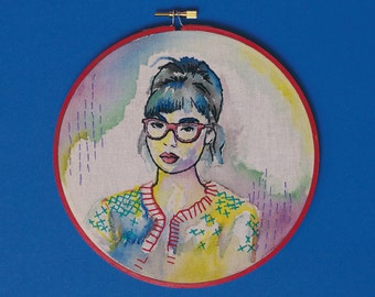 Custom Modern Embroidery Hoop Art Watercolor Portrait, unique personalized gift idea, wall decor
