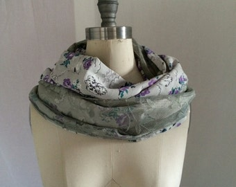SALE, Grey and Purple Vintage Floral and Lace Infinity Scarf, Vintage Lace, Infinity Scarf