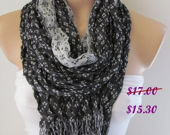 Black White and Gray Long Scarf - Shawl Scarf-New Season-Necklace-Cowl- Neck warmer- Infinity Scarf-Mother's Day Gift