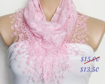 Pink Lace Scarf With Fringe Shawl Scarf Bridal Accessories Bridesmaids Long Wedding Scarf Women Fashion Accessories Christmas Gift For Her