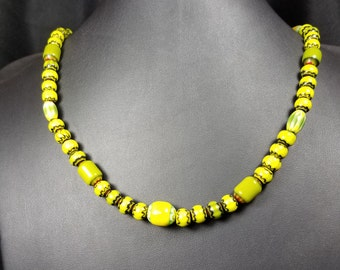 Olive and Black Chevron Glass Bead Necklace