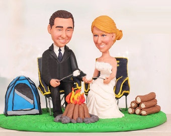 Camping trip theme topper - Personalised wedding cake topper  (Free shipping)
