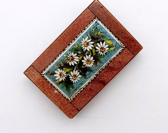 Antique GRAND TOUR MOSAIC Tile Paperweight Micro Mosaic Goldstone Memento Souvenir
