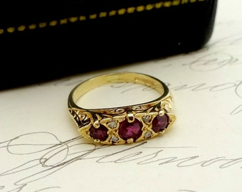 Antique 9k Gold RUBY DIAMOND RING Victorian 9k Triple Red Ruby Diamond Gemstone Ring Size 4.25 Circa 1896 England