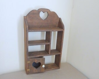 Vintage Wood Wooden Pine Wall Shelf with Heart Theme 5 Shelves and Door Pigeon Hole