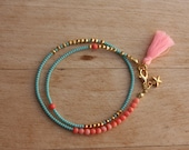 Aqua and  Pink Coral  Boho  Beaded Wrap Bracelet , Tassel Friendship Bracelet