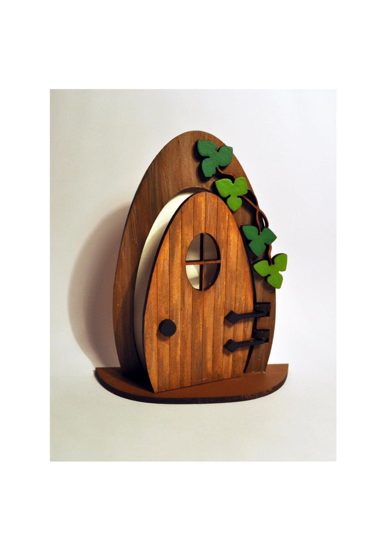 3d opening fairy door handmade painted wood with ivy for Wooden fairy doors that open