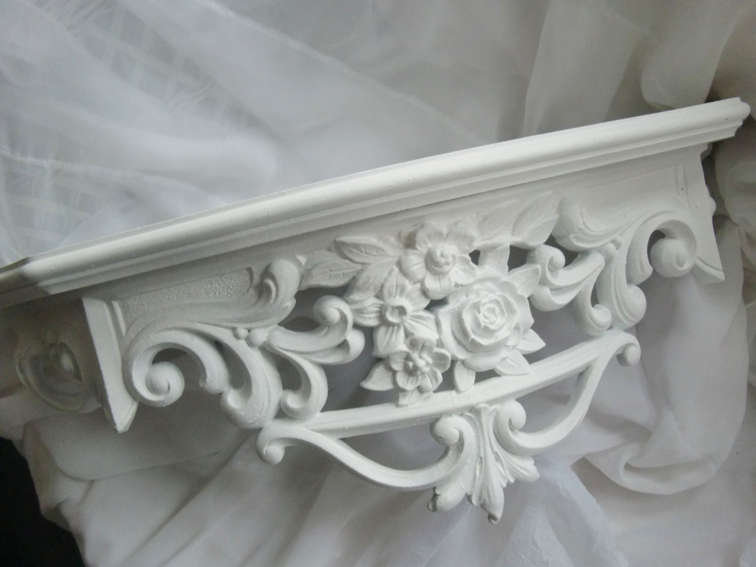 Ornate Homco White Rose Scroll Shelf Home Decor Shabby