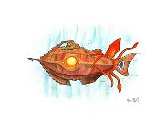 Captain Nemo's Little Nautilus Watercolor Print