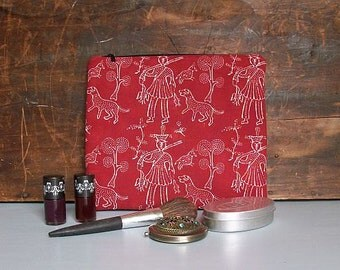 "Large Red Makeup Bag, Cosmetic Bag,10.5"" x 9.25"", Pencil Case, Bag Organiser,Large Purse, One of a Kind Bag, Handmade by UK Seller"