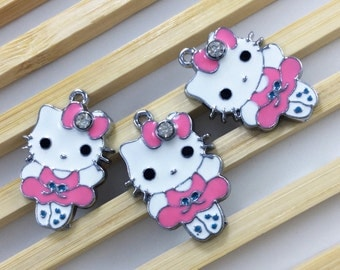 10  pcs kitty Charms ,Hello kitty pendant colors enamel,16*25mm