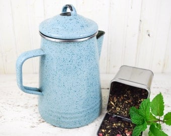 Vintage Enamelware Teapot Coffee Pot Blue Country Kitchen Decor