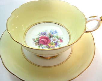 Paragon Tea Cup and Saucer, Yellow  tea cup and saucer set, Antique Yellow Paragon tea cup set.