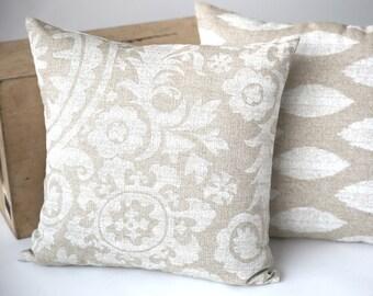 Suzani Burlap Decorative Throw Zipper Pillow Cover Tan Made to fit 26x26 Pillow Insert Cream Pillow Khaki Pillow Cover-KOQG
