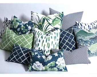 Blue Green 24x24 pillow cover / Navy 24x24 inch pillow / Floral 24x24 inch pillows / Green 24x24 Cushion cover-4E9H