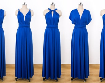 Royal Blue Maxi Infinity Dress, Convertible Bridesmaid Dress, cheap prom dress, Evening Dress,Multiway Dress, Wrap Dress, formal Dress