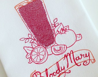 Bloody Mary Floursack Towel-Embroidered-Housewarming-Brunch-Tomato