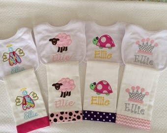 Personalized or Monogrammed Baby Girl's Bib and Burp Cloth Set