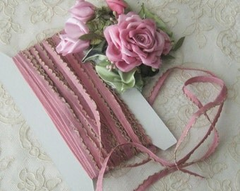 Vintage Deep Dusty Rose Rayon Ribbon with Metallic Gold Lettace Edge - Crafts, Ribbon Flowers, Sewing, Dolls, Teddy Bears - 1 yard