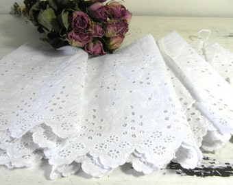 "Cotton lace trim, 86"" or 218 cm, white cotton lace, wide eyelet cotton lace trimming, French vintage, French linens, French shabby chic."