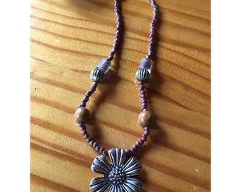 SALE** Beaded Sunflower Necklace