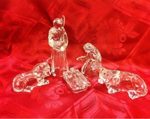 Clear Glass Christmas Nativity Set Made in France