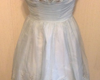 Dusty blue and gold dress