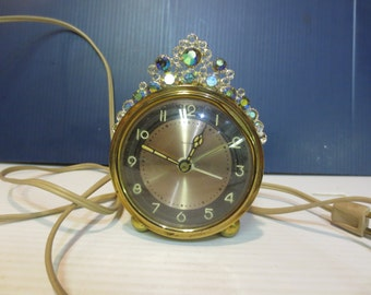 Salem Alarm Clock With A Crown Of Aura Borealis Rhinestones West Germany