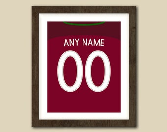 Portugal Football Wall Art - Jersey Print - Custom Made - Put ANY Name & ANY Number 5x7 - 8x10 - 16x20