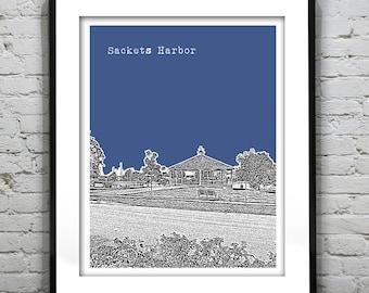 Sackets Harbor Skyline Poster Art Print New York NY