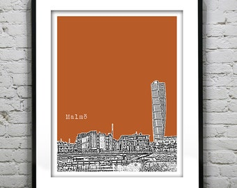 1 Day Only Sale 10% Off - Malmo Sweden Skyline Poster Art Print version 2