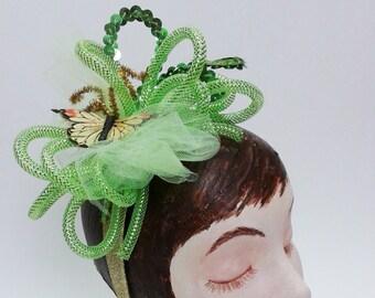 Butterfly headband, Green headband, Butterfly fascinator, New Years Eve headband, Spring celebration hat, St. Pattys Day headband
